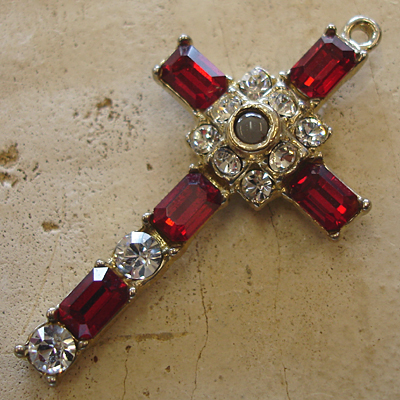 Octavia stanhope cross pendant with ruby swarovski crystals aloadofball Choice Image