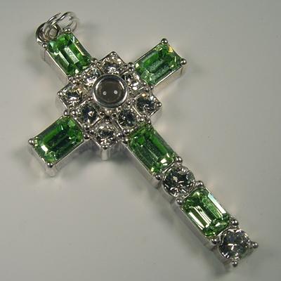 Grace cross pendant with peridot swarovski crystal rhinestones mozeypictures Gallery