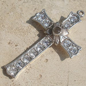 Grotto Stanhope Cross Pendant with Clear Swarovski Crystals