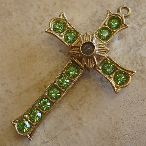 Grotto Stanhope Cross Pendant with Peridot Swarovski Crystals
