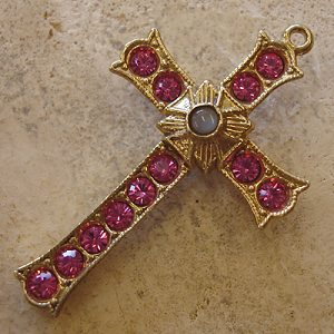 Grotto Stanhope Cross Pendant with Rose Swarovski Crystals