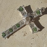 Grotto Stanhope Cross Pendant with Peridot & Clear Swarovski Crystals