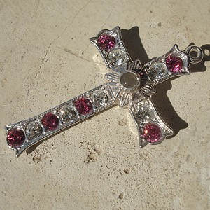 Grotto Stanhope Cross Pendant with Rose & Clear Swarovski Crystals