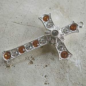 Grotto Stanhope Cross Pendant with Topaz & Clear Swarovski Crystals