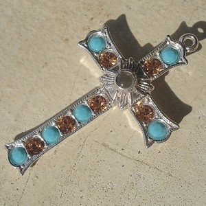 Grotto Stanhope Cross Pendant with Turquoise & Topaz Swarovski Crystals