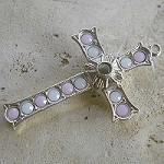 Grotto Stanhope Cross Pendant with White & Rose Alabaster Swarovski Crystals