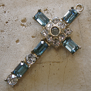 Octavia Stanhope Cross Pendant with Indian Sapphire Swarovski Crystals
