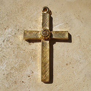 Etched Cross Pendant with Stanhope Peep