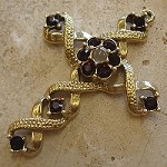 Ribbon Stanhope Cross Pendant with Garnet Swarovski Crystals
