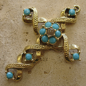 Ribbon Stanhope Cross Pendant with Turquoise Swarovski Crystals