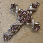 Ribbon Stanhope Cross Pendant with Light Amethyst Swarovski Crystals