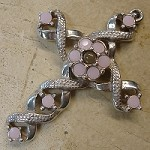 Ribbon Stanhope Cross Pendant with Rose Alabaster Swarovski Crystals