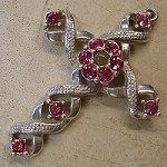 Ribbon Stanhope Cross Pendant with Rose Swarovski Crystals