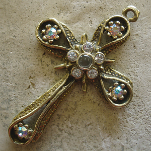 Star & Band Stanhope Cross Pendant with Aurora Borealis Swarovski Crystals