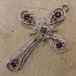 Star & Band Stanhope Cross Pendant with Amethyst Swarovski Crystals