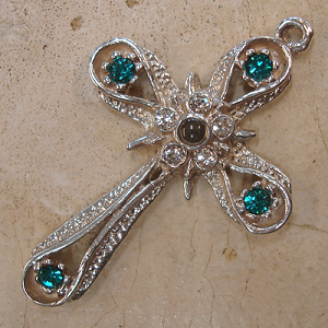 Star & Band Stanhope Cross Pendant with Blue Zircon Swarovski Crystals