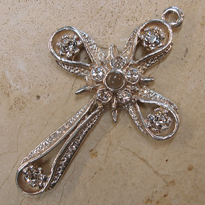 Star & Band Stanhope Cross Pendant with Clear Swarovski Crystals