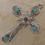 Star & Band Stanhope Cross Pendant with Turquoise Swarovski Crystals