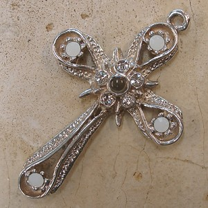 Star & Band Stanhope Cross Pendant with White Alabaster Swarovski Crystals