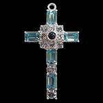 Grace Cross Pendant with Aquamarine Swarovski Crystal Rhinestones