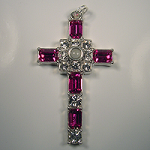 Grace Cross Pendant with Fuchsia Swarovski Crystal Rhinestones