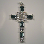 Grace Cross Pendant with Indian Sapphire Swarovski Crystal Rhinestones
