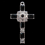 Grace Cross Pendant with Jet Black Swarovski Crystal Rhinestones