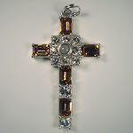 Grace Cross Pendant with Smoke Topaz Swarovski Crystal Rhinestones