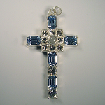 Grace Cross Pendant with Light Sapphire Swarovski Crystal Rhinestones