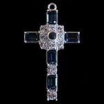 Grace Cross Pendant with Montana Blue Swarovski Crystal Rhinestones
