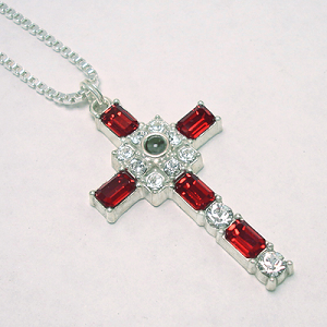 Grace Cross Pendant with Ruby Swarovski Crystal Rhinestones