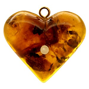 Amber Heart Pendant with Custom Stanhope Photo