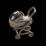 Sterling Silver Baby Carriage Charm with Stanhope View