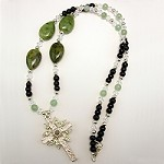 Jade Onyx Adventurine Necklace Sterling Silver Leaf Stanhope Cross