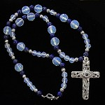 Moonstone & Lapis Necklace with Sterling Silver Vine Stanhope Cross