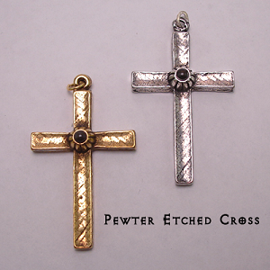 Pewter Etched Cross with Lord's Prayer Stanhope Peep