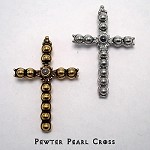 Pewter Pearl Cross with Lord's Prayer Stanhope Peep