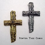 Pewter Tree Cross with Lord's Prayer Stanhope Peep