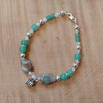 Sterling Silver Jade & Adventurine Charm Bracelet with Personalized Photo Stanhope Charms