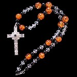 Amber & Onyx Necklace with Clear Crystal Sterling Grace Cross