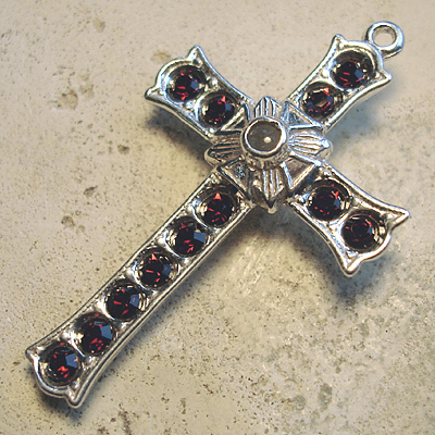 Grotto Stanhope Cross Pendant with Burgundy Swarovski Crystals