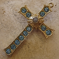 Grotto Stanhope Cross Pendant with Aquamarine Swarovski Crystals