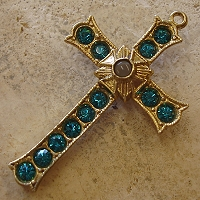 Grotto Stanhope Cross Pendant with Blue Zircon Swarovski Crystals