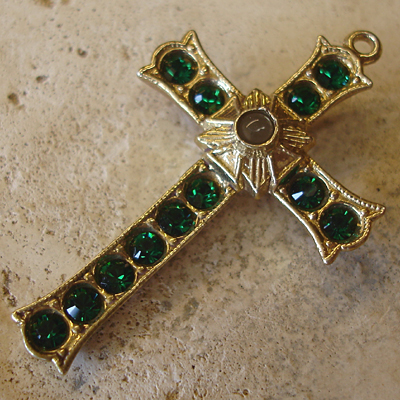Grotto Stanhope Cross Pendant with Emerald Swarovski Crystals