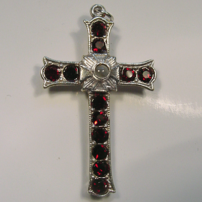 Grotto Stanhope Cross Pendant with Ruby Swarovski Crystals