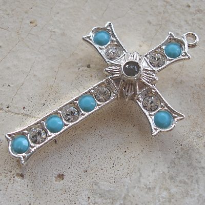 Grotto Stanhope Cross Pendant with Turquoise & Clear Swarovski Crystals