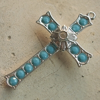 Grotto Stanhope Cross Pendant with Turquoise Swarovski Crystals