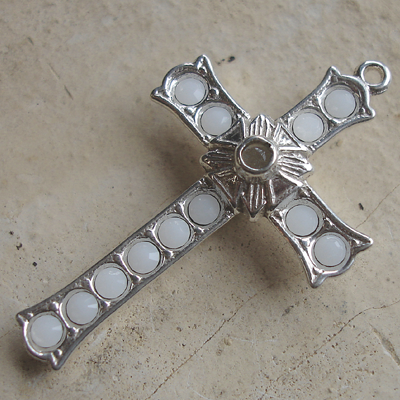 Grotto Stanhope Cross Pendant with White Alabaster Swarovski Crystals