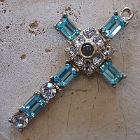 Octavia Stanhope Cross Pendant with Aquamarine Swarovski Crystals