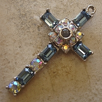 Octavia Stanhope Cross Pendant with Indian Sapphire & Aurora Borealis Swarovski Crystals